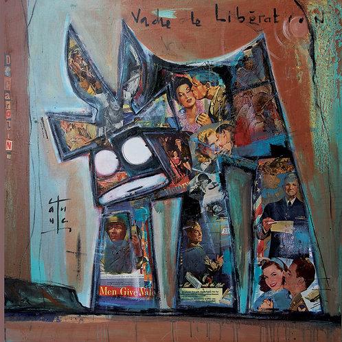 VanLuc œuvre reproduite sur métal Vache de Libération