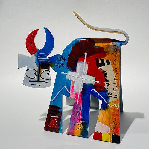 VanLuc Vache de Métal format S peinte création 1