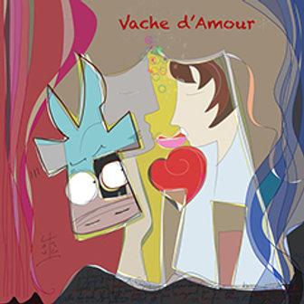 VanLuc œuvre reproduite sur métal Vache d'Amour
