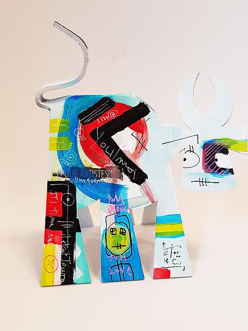 VanLuc Vache de Métal format S peinte création 26