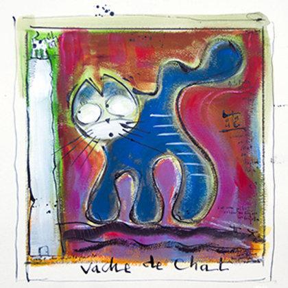 VanLuc œuvre reproduite sur métal Vache de Chat bleu