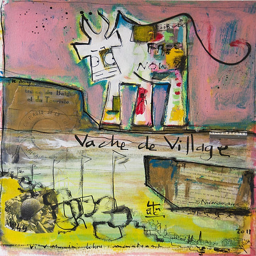 VanLuc œuvre reproduite sur métal Vache de Village