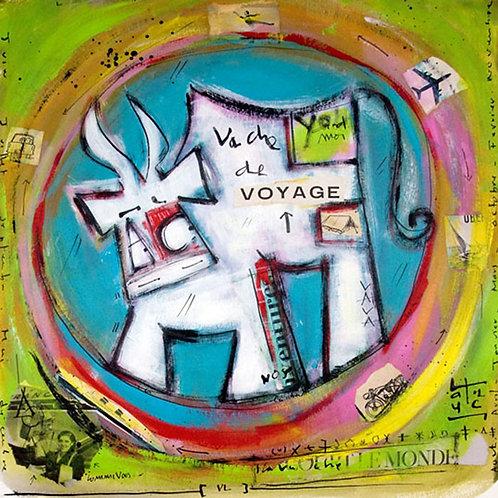 VanLuc œuvre reproduite sur métal Vache de Voyage