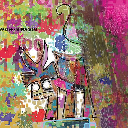 VanLuc œuvre reproduite sur métal Vache de Digital