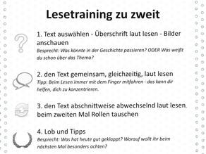 """Zuhause strukturiert üben: """"Lesetraining zu zweit"""""""