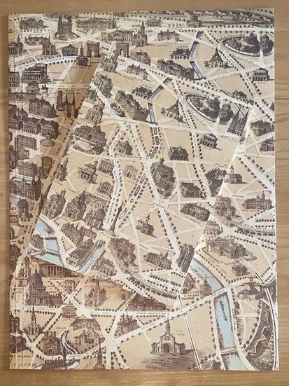 パリの古い地図柄ファイルとノートセット