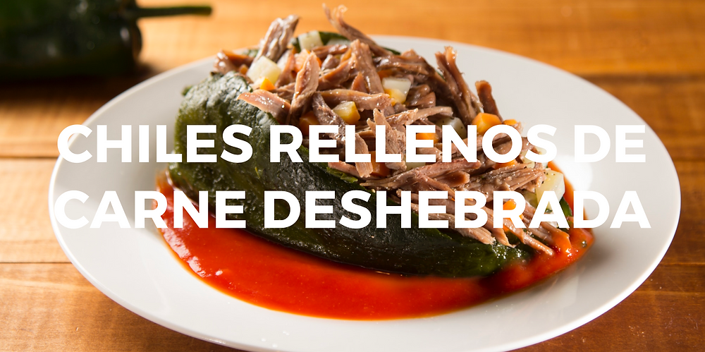 Chiles rellenos de carne desherbada