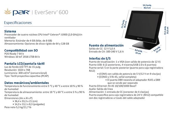 Everserv 600 Specs