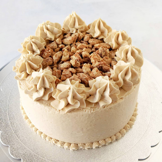 Pumpkin Spice Cake with Maple Pecan Buttercream and Candied Pecans