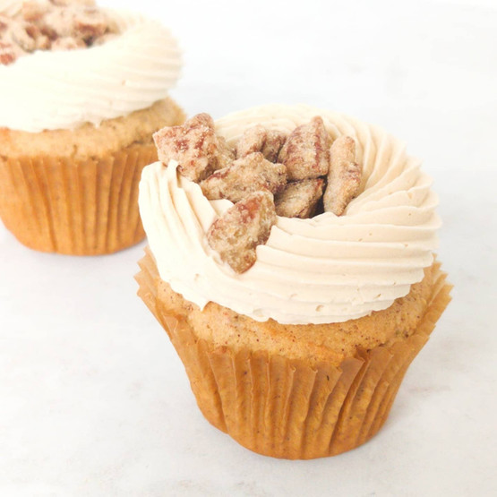 Pumpkin Cupcakes with Maple Pecan Butterceam and Candied Pecans