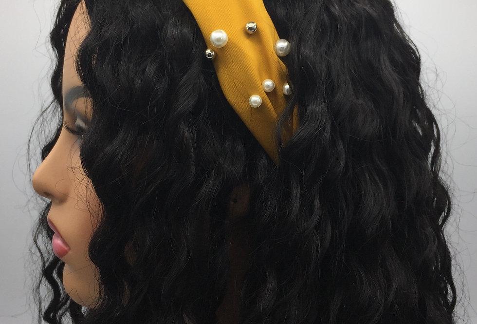 """It's Knot Pearls"" Headband (Mustard)"