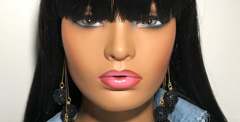 """""""Pop Out"""" Dangle Earrings (Black)"""
