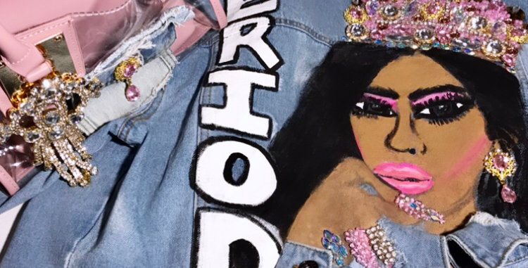 """""""PERIOD"""" Queen Painted Jacket w/ matching light pink purse"""