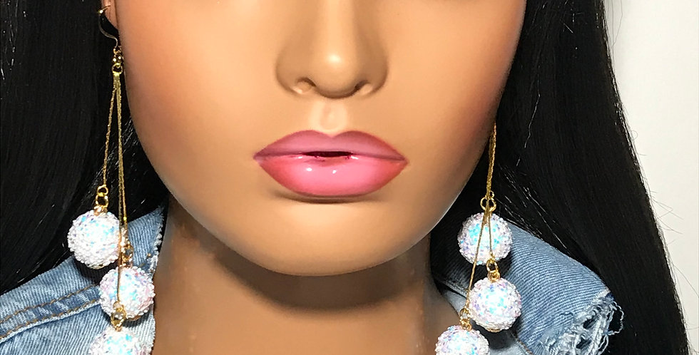 """""""Pop Out"""" Dangle Earrings (White)"""