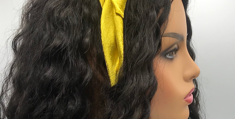 """Puffy Satin"" Headband (Mustard)"