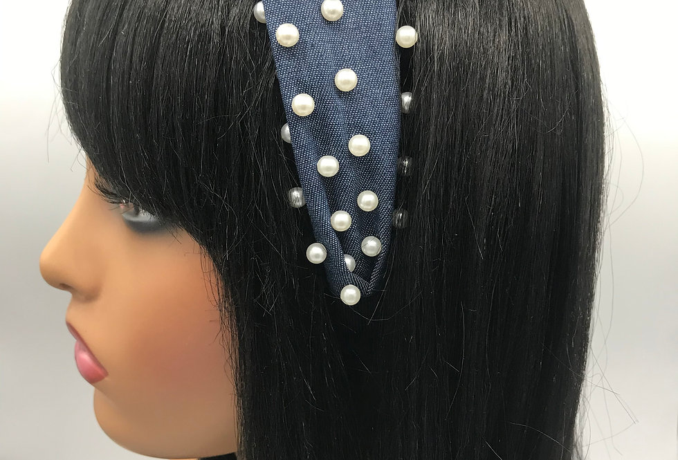 """Puffy Pearl Denim "" Headband"