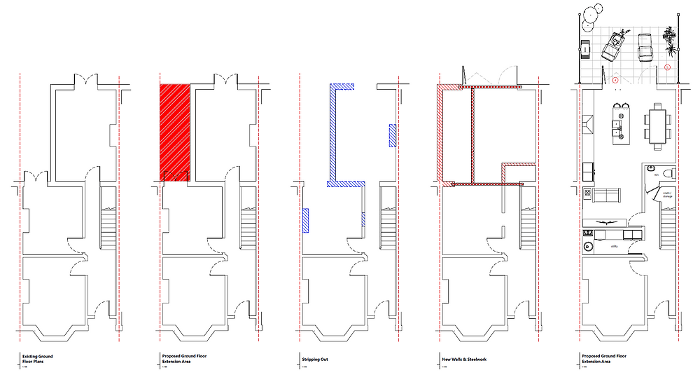 Plans Drawings for Side Return Extension with Family Room Added