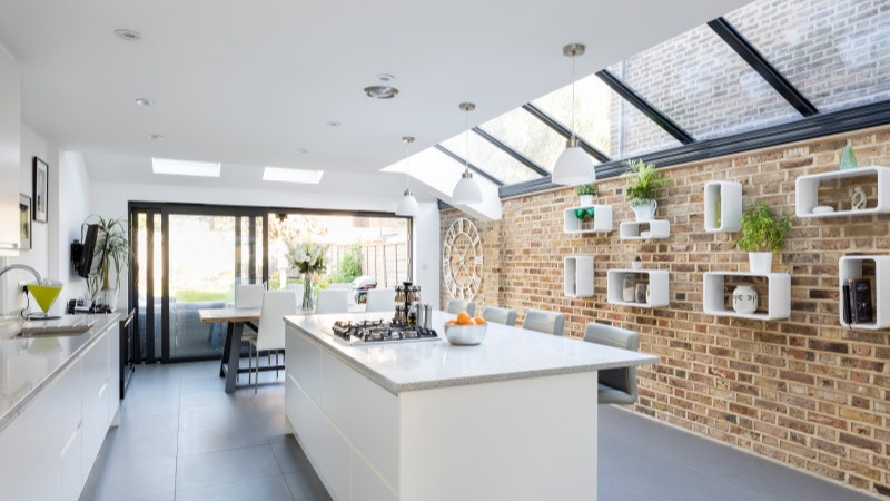 modern kitchen extension with exposed brickwork