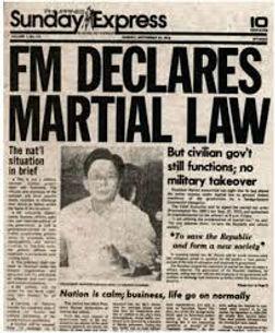 President Ferdinand Marcos declares Martial Law, September 21, 1972