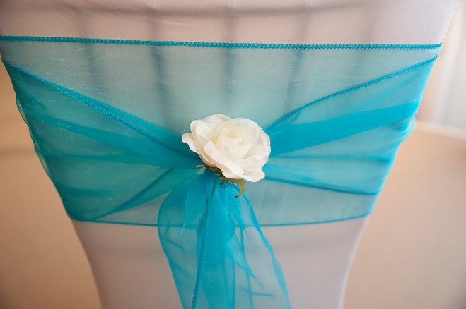 Blue and Rose Chair Sash Decor Hire - Decor Hire West Sussex