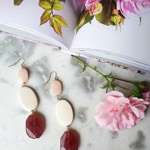 Orecchini a ovali rosa
