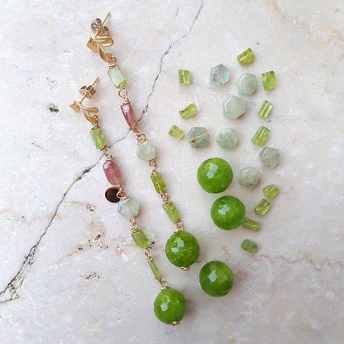 Orecchini peonia verde
