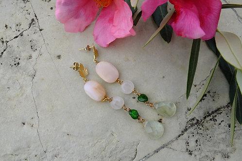 Orecchini verdi e rosa