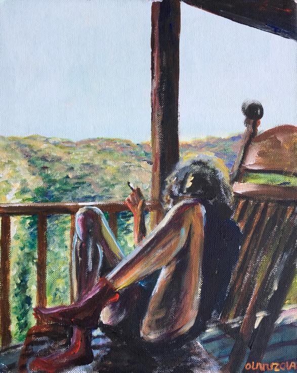 """""""Vrouw op balkon"""" (woman on balcony)"""