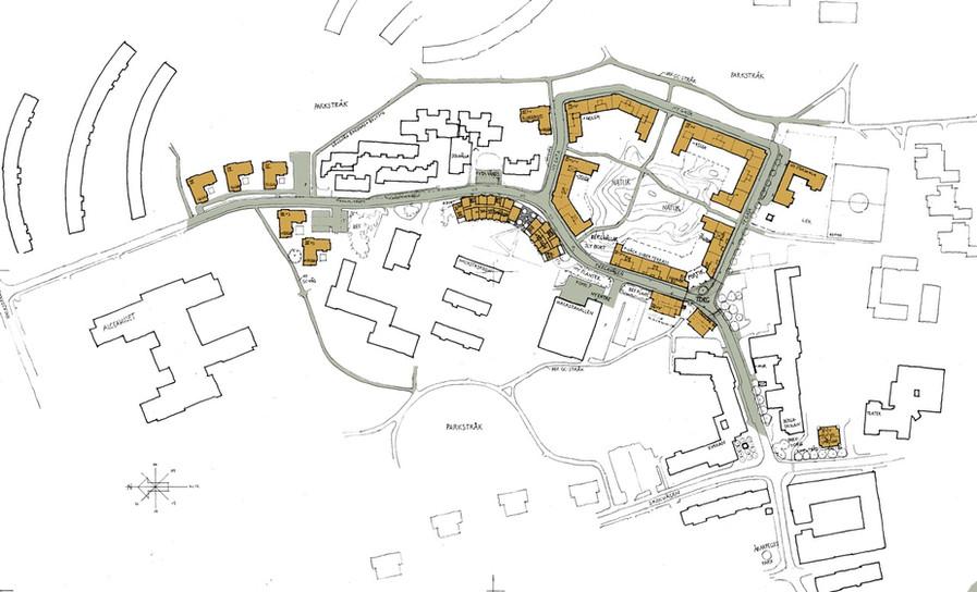Översiktsplan där de nya byggnaderna är markerade i orange