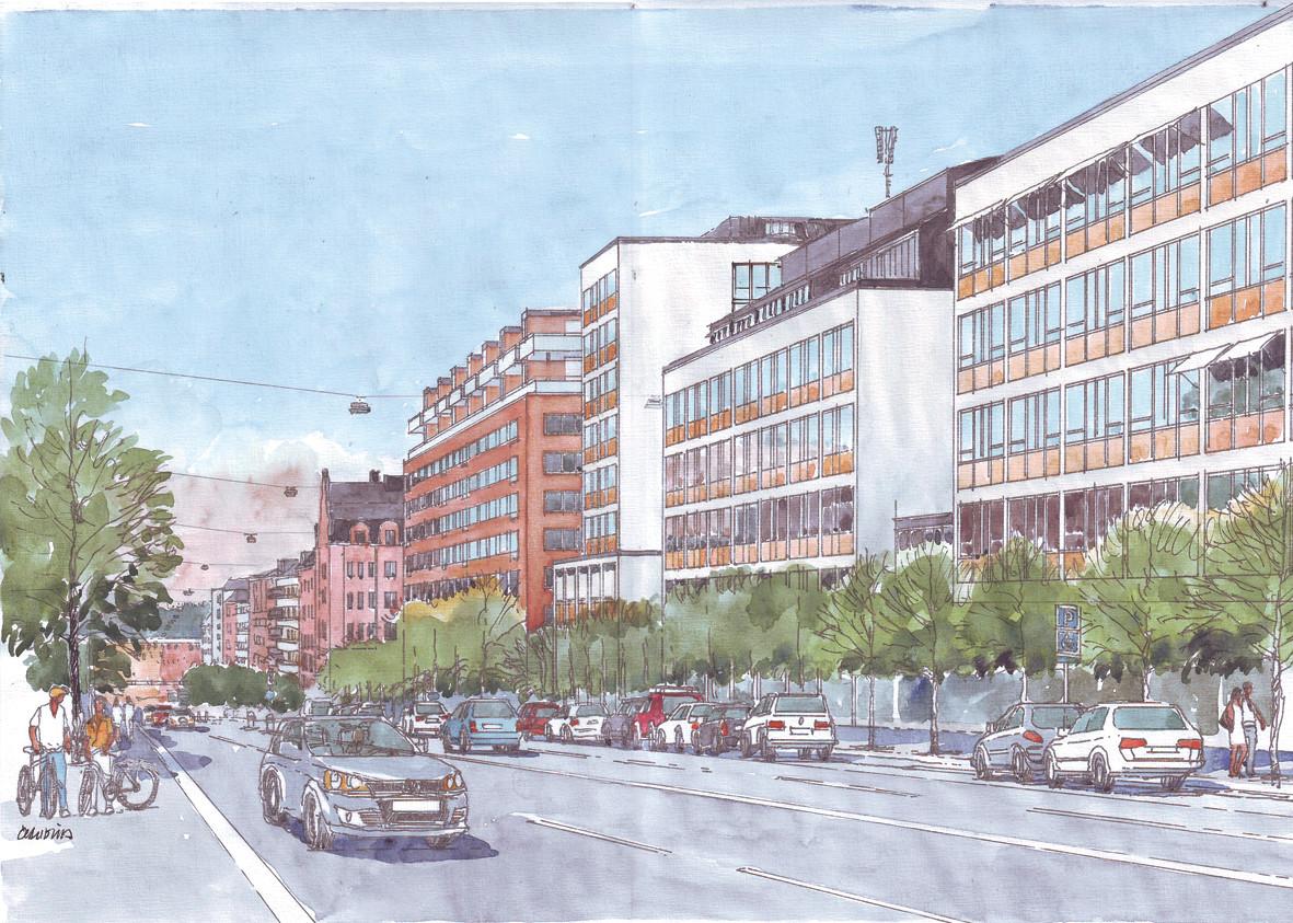 Illustration över påbyggd våning mot Hornsgatan