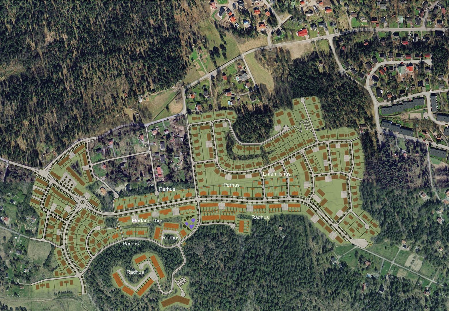 Översiktsplan över detaljsplaneområdet. Byggnader ritade av Södergruppen är orangemarkerade.