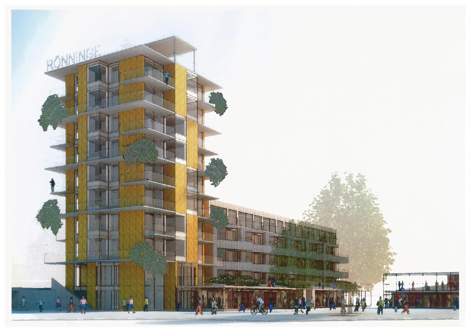Illustration över föreslagen bebyggelse