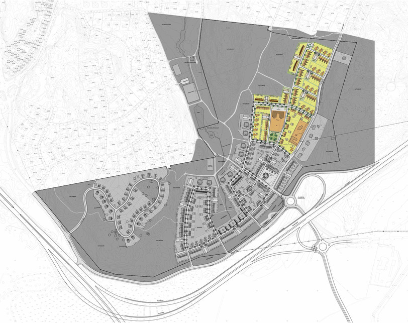 Situationsplan över det område som täcker detaljplanen upprättad av Södergruppen. Husen i det området som är gulmarkerat är ritade av Södergruppen.