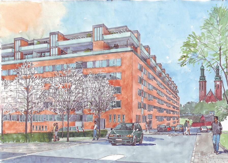 Illustration över påbyggd våning mot Lundagatan