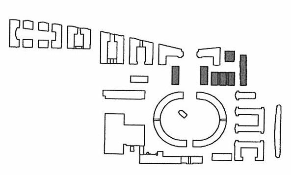 Situationsplan, markerade byggnader föreställer kv. 6