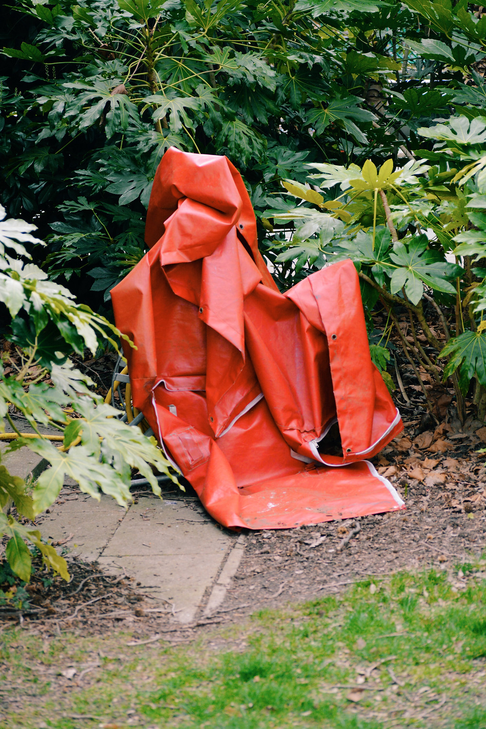 A large, red piece of discarded plastic lying amongst green plants.