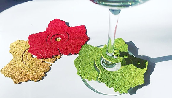 Spiral wine leaves glass decoration pack of 6