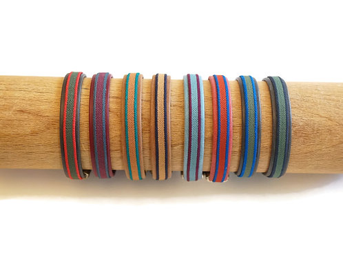 Le ruban bicolore sur cuir