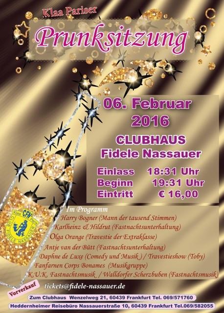 Einladung zu Prunksitzung der         Fidele Nassauer am 06.02.2016