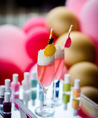 drinks, champaigne, nail polish, pink balloons