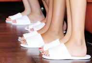 Soft white hotel slippers, kids slippers, pedicure