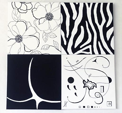 Peinture 4 toiles Noir et Blanc
