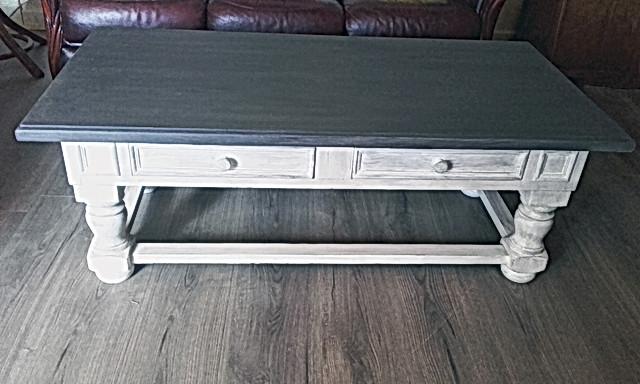 table bicolore patinée
