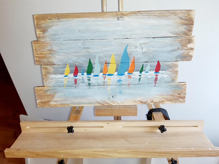 Bateaux peints sur bois de récup