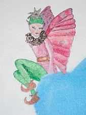Un elfe sur un mur - Patine