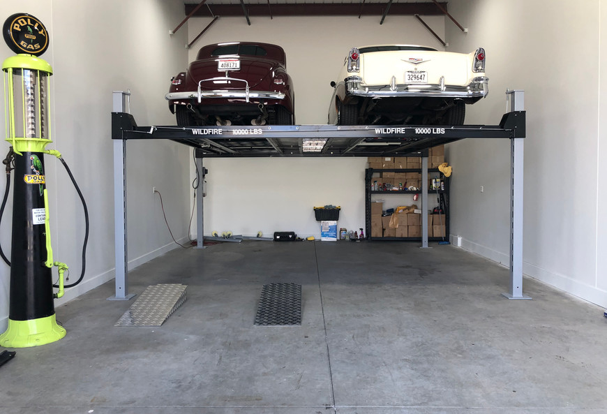 Double Wide Car Lift in Garage Condo.jpe