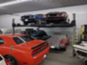 Double Wide Car Lift - Mustangs.JPG