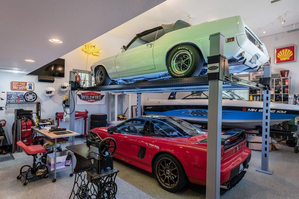 Mustang and NSX on 4 Post Car Lift