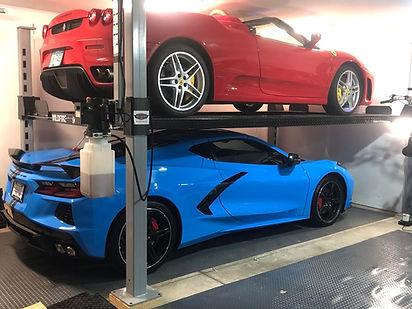 C8 Corvette and Ferrari on Wildfire Lift