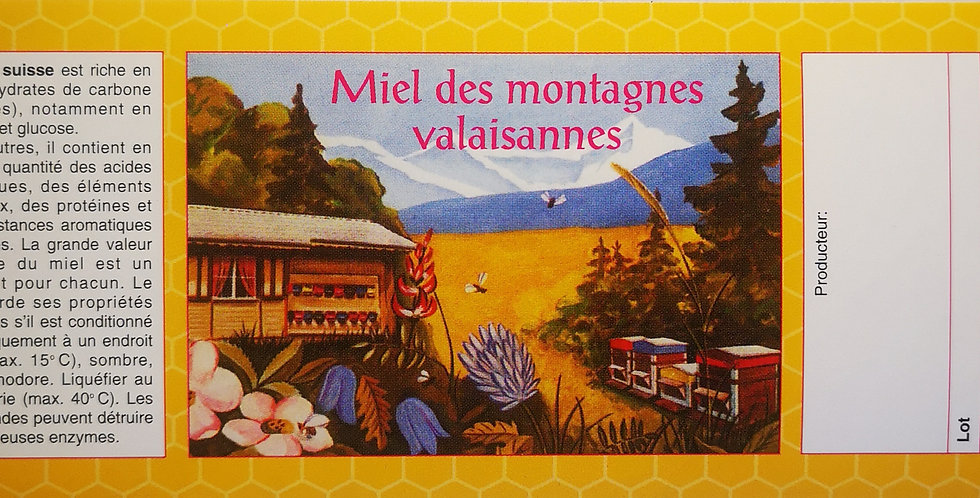"""270.800 Etiquettes allongées, grand format """"Miel des montagnes valaisanne"""""""